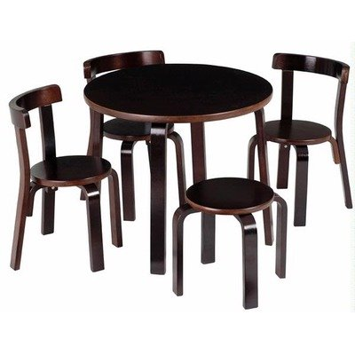 Kids Table and Chair Set - Svan Play with Me Toddler Table Set with 3 Chairs and Stool - 100% Wood (Espresso) (Espresso Play Table compare prices)