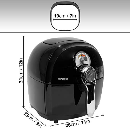 Duronic AF1 /B Oil Free & Low Fat Air Fryer / 1500W Mini Oven - Adjustable Temperature - Healthy Cooking - Recipe Book - Chips / Fry Chicken / Steam Fish / Roast Steak & Tasty Nutritious Family Meals