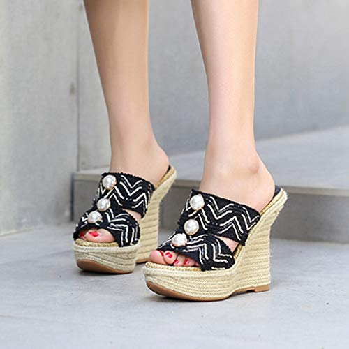 High Heel Sandals Wedge GIY Heels on Mules Black Platform Slides Womens High Peep Espadrille Slip Toe x6Xq6vrw