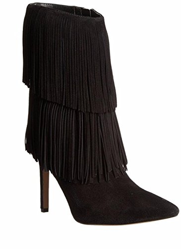 GAIHU Ladies stiletto high heel boots ankles letter head of shoes black suede tassel brown spring of the fall of the winter Black 654dUQb
