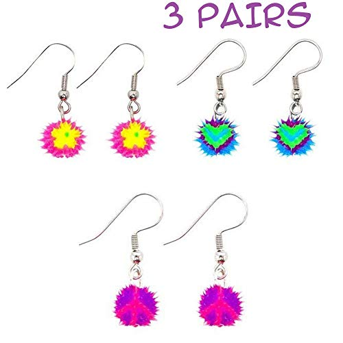 Dangle Earrings for Little Girls and Tweens | Hypoallergenic Soft Silicone Spiky Earrings - Cute Colorful Designs | Daisy Heart Peace Sign – Great Gifts and Party Favors (3 Pairs)