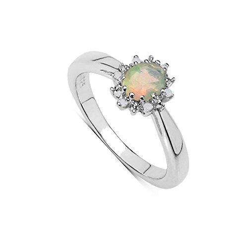 The Opal Ring Collection: Beautiful Small Oval Opal & Diamond Cluster...