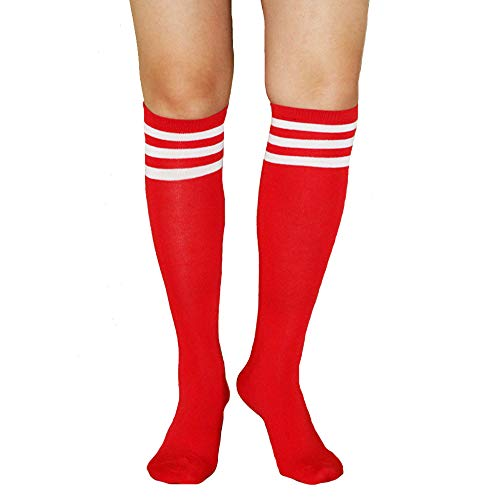 Women Girls Knee High Socks Funny Cute Over Calve Athletic Soccer Football Cool Cosplay Costume Tube Socks Red And White -