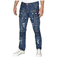 Trillnation Mens Slim Fit Distressed Moto Zipper Cargo Jeans by