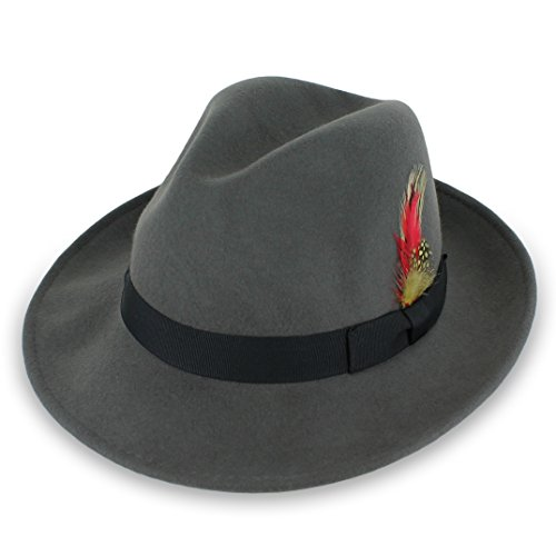 ool Men's Dress Fedora in 5 colors (X-Large, Grey W. Black) (Fur Dress Hat)