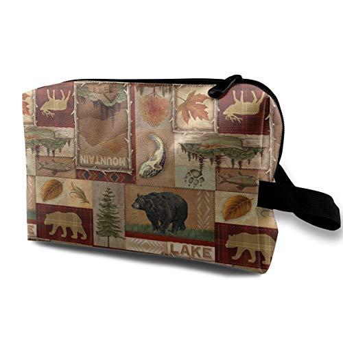 (LEIJGS Rustic Lodge Bear Moose Deer Small Travel Toiletry Bag Super Light Toiletry Organizer for Overnight Trip Bag)