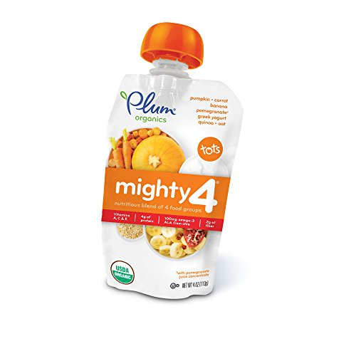 Plum Organics Mighty 4, Organic Toddler Food, Pumpkin, Carrot, Banana, Pomegranate, Greek Yogurt, Quinoa & Oat, 4 oz. pouch (Pack of (Seed Whole Organic Pouch)