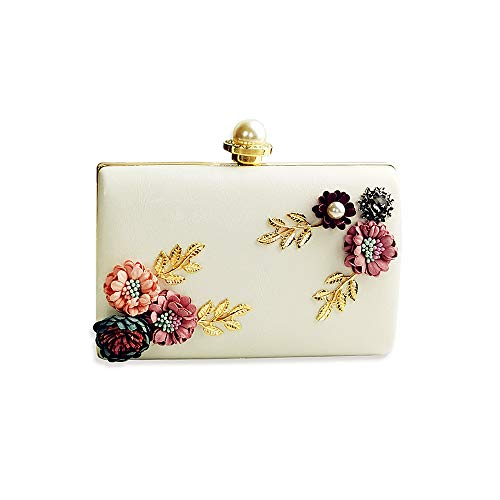Womens Flower Clutch Bag Designer Evening Handbag,Lady Party Clutch Purse, Great Gift Choice with Gift Box (White - Floral Ⅱ)