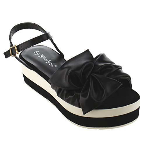 Nature Breeze FJ17 Women's Plaform Wedge Heel Ruched Bow Tie Dress Sandals Black ()