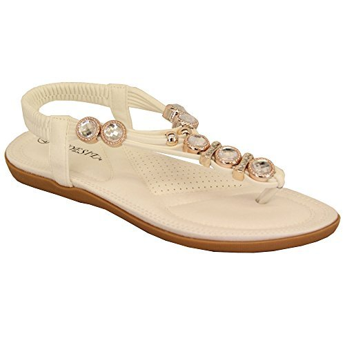 Ladies Flat Sandals Womens Diamante Sling Back Toe Post Shoes Summer Fashion New White - Wd707
