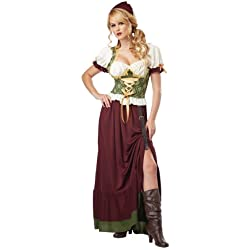 California Costumes Women's Renaissance Wench Adult, Burgundy/Green, Large