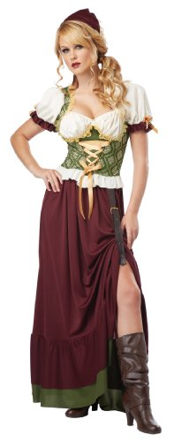 Renaissance Festival Halloween Costumes (California Costumes Women's Renaissance Wench Adult, Burgundy/Green,)