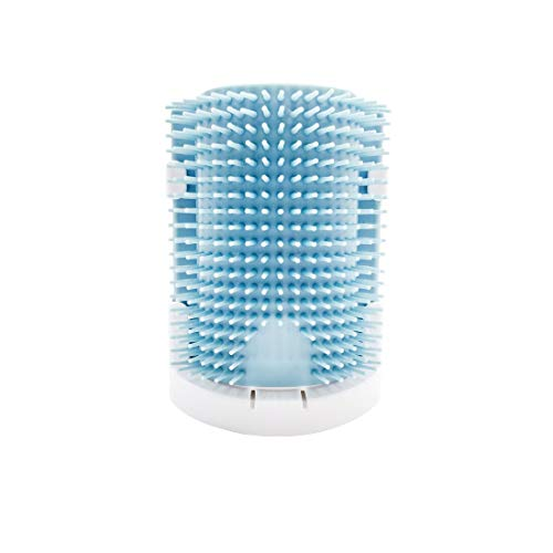 STARROAD-TIM cat self Groomer with cathip Cat Self Grooming Corner Wall Brush Dog Cat Corner Groomer,Wall Corner Massage Comb Grooming Brush (Gray-Blue)