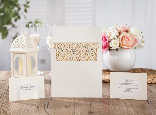 Wishmade-Laser-Cut-Invitations-Cards-Kit-With-Matched-Thank-You-Card-and-RSVP-Card-For-Wedding-Party-Birthday-Occasion-CW6110