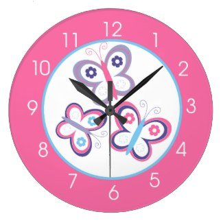 Pink Butterfly Girls Room Round Large 10.75