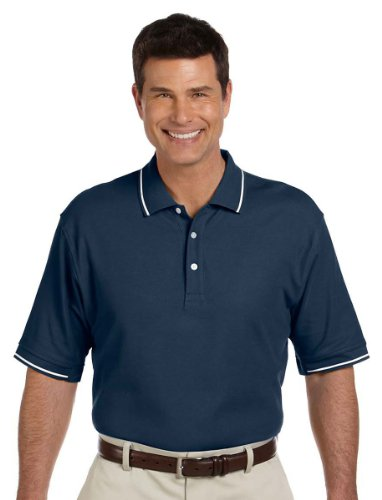 Sleeve Pima Pique Polo - Devon & Jones Mens Pima Pique Short-Sleeve Tipped Polo (D113) -Navy/White -XL