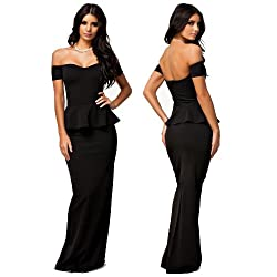made2envy Drop shoulder Peplum Maxi Evening Dress