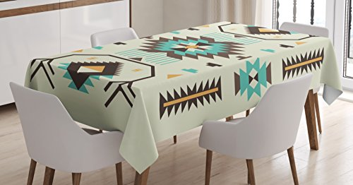 Ambesonne Southwestern Tablecloth, Ethnic Pattern Design from Ancient Aztec Culture with Indigenous Zigzag Motifs, Dining Room Kitchen Rectangular Table Cover, 60 W X 84 L inches, Multicolor