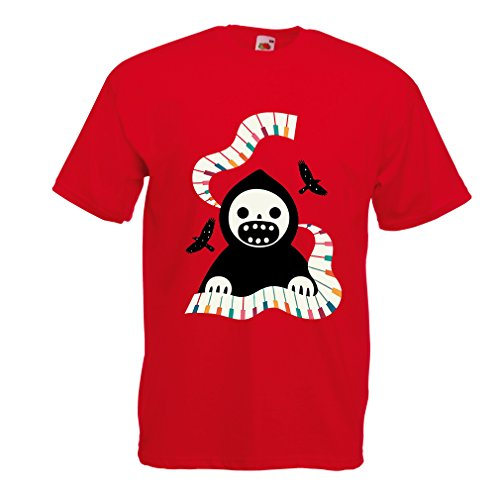 T Shirts for Men Halloween Horror Nights - The Death is Playing on Piano - Cool Scarry Design (XX-Large Red Multi Color) -