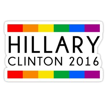 Hillary Clinton Bumper Sticker (Chili Print Hillary Clinton 2016 Rainbow Flag - Sticker Graphic Bumper Window Sicker Decal - Gay Pride)