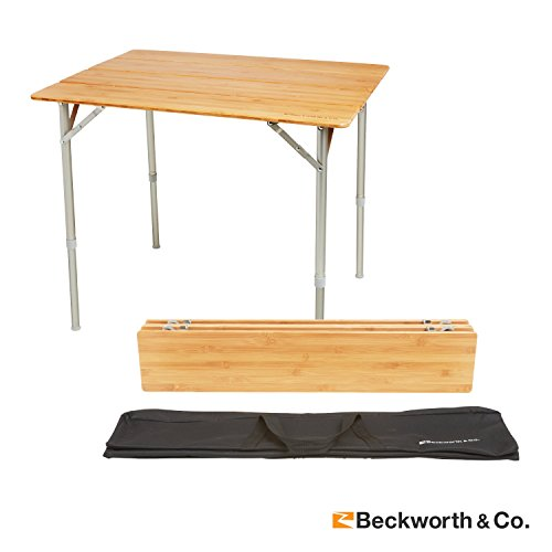 Beckworth & Co. SmartFlip Bamboo Portable Outdoor Picnic Folding Table with Adjustable Height & Carry Bag - Large