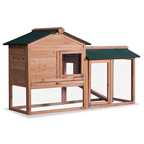 (Lovupet 58'' Deluxe Wooden Chicken Coop Outdoor Bunny Rabbit Hutch Hen Cage with Ventilation Door, Removable Tray and Ramp Garden Backyard Pet House Chicken Nesting Box)