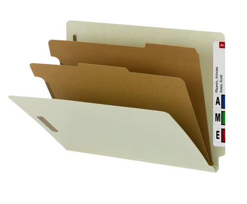 Smead 100% Recycled End Tab Classification Folder, 2 Dividers, 2