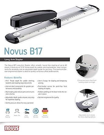 40 Sheet Capacity Novus B17 Long Arm Stapler 11.75 Staple Depth for Booklet Binding Staple|Pin 25 Year Warranty Steel Drive 020-1535