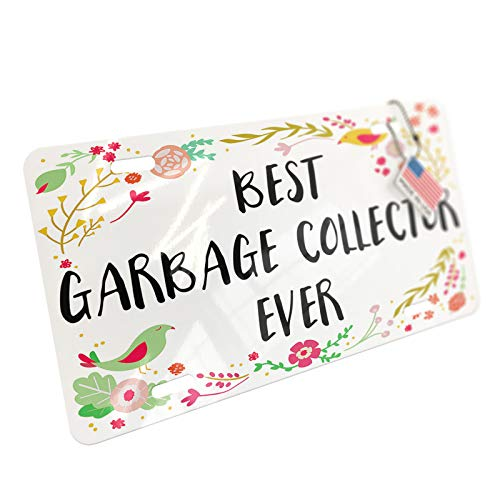 NEONBLOND Happy Floral Border Garbage Collector Aluminum License Plate