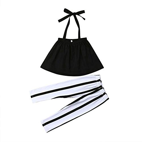 YOUNGER TREE Toddler Kids Baby Girls Summer Outfits Set Strapless Tube Top +Stripe Long Pants Set (Black Strap Tops+Stripe Long Pants, 1/2 T) -