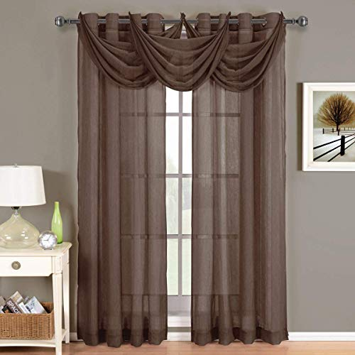 Royal Hotel Abri Chocolate-Brown Grommet Crushed Sheer Curtain Panel, 50x108 inches