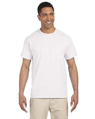 Gildan Mens Ultra Cotton 100% Cotton T-Shirt with Pocket, 2XL, White