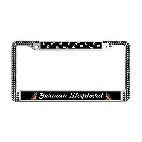 (German Shepherd License Plate Frame,Black Rhinestones Auto License Cover Holder )