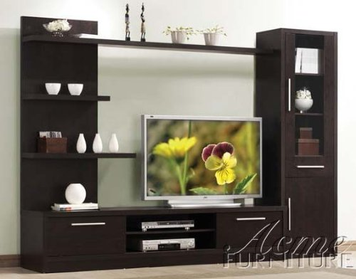 - 3pc Entertainment Center Contemporary Style in Espresso Finish by Acme