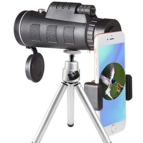 High Power Monocular Telescope and Quick Smartphone Holder for Adults Kids Bird Watching Hunting Travling Wildlife Secenery (Black)