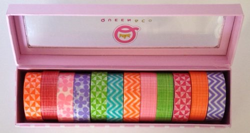 """WASHI Trendy Tape - Various Colors of Plaids, Florals, Geometrics - Set of 12 Rolls 1/2"""" x 10 Yards In A Cute Limited Edition Pink Polkadot Storage Box, by Queen & Co."""