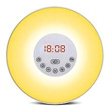YaPeach Sunrise Simulation Wake-up Light, 5 Sounds Alarm Clock 3 Colors Atmosphere Lamp 3-Brightness Bedside Light with FM Radio for Procrastinator Environmentalist Nature Lover