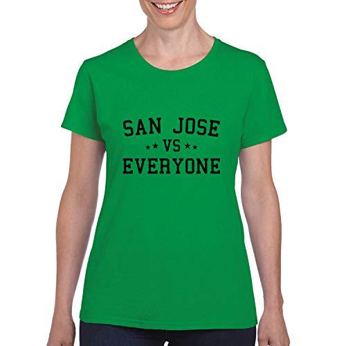 San Jose Vs Everyone City Pride Womens Graphic T-Shirt, Kelly, Medium -
