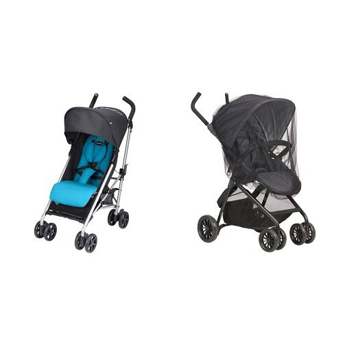 Evenflo Minno Lightweight Stroller, Seashore Blue with Stroller Insect Netting by Evenflo