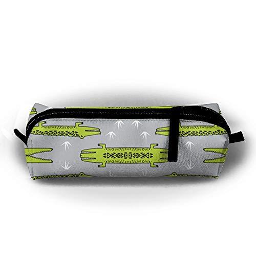 KIOT156 Crocodiles (Small) Crocodile Alligator Pencil Case Cosmetic Bag Coin Pen Holder Stationery Pouch Zipper Makeup Storage - Alligator Pencil