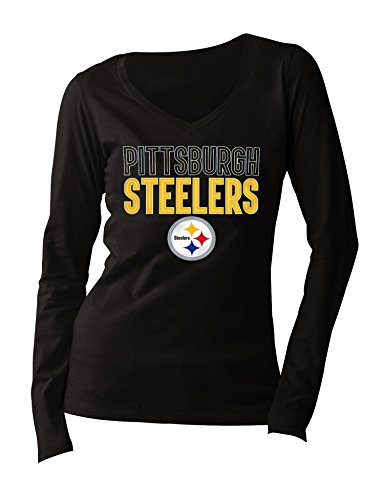 NFL Pittsburgh Steelers Women's Long Sleeve V Neck Jersey, Large, Black