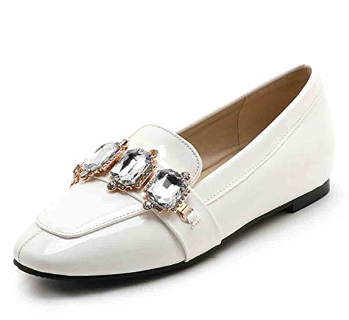 Tasainen Loafers Alkuun Toe Patentti Valkoinen Strassit Aisun Neliön Alhainen Naisten O0FAZA