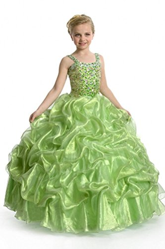 GreenBloom Girls' Straps U-Shaped Beaded Tank Pageant Dresses Green 2