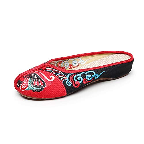 Beijing Chaussures Masque Chaussures Femmes Broderie Rouge Opéra Casual Pantoufles Douces vrqxRvnA5