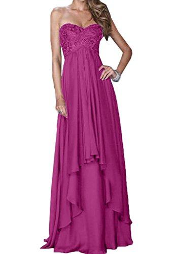 Chiffon pizzo da ressing sera cuore vestito Fuchsie Line di abito 44 Party Donna ivyd a moda Fest scollo abito alla A prom 4pqO6q