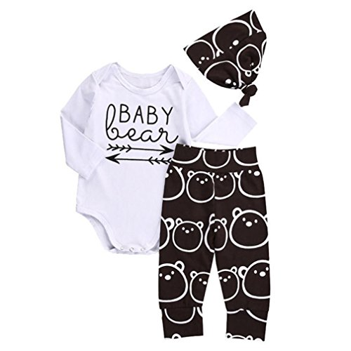 Muxika1Set Newborn Infant Baby Letter Print Long Sleeve Romper+Pant+Hat Outfits (Age:0~3 Month, White)
