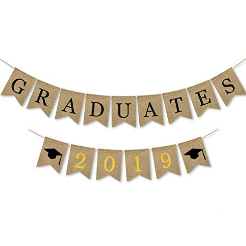 Awyjcas Class of 2019 Graduation Banner Decorations - Assembled - Graduation Party Supplies 2019 | Graduation Decoration Black Yellow Gold Banner Sign for Mantle, High School, College Graduation -