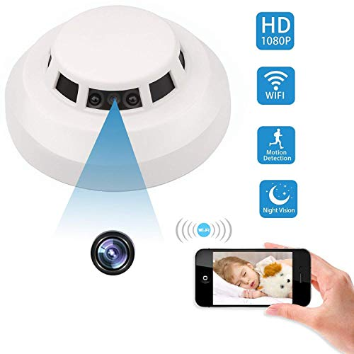 Spy Hidden Camera, ZDMYING WiFi Smoke Detector Camera HD 1080, with Night Vision Motion Detection Loop Recording Alarm Mini Video Recorder Surveillance, for House Office Pet Nanny Cam