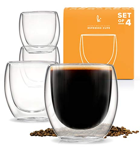 Espresso Cups Shot Glass Coffee Set of 4 - Double Wall Thermo Insulated (No Espresso Handle Cups)