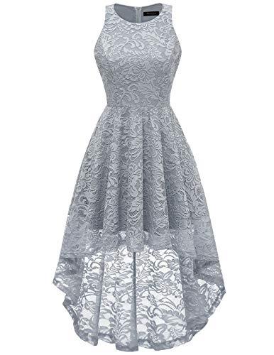 - MEETJEN Women's Vintage Bridesmaid Floral Lace Dress Cocktail Hi-Lo Prom Swing Party Prom Dress Grey M